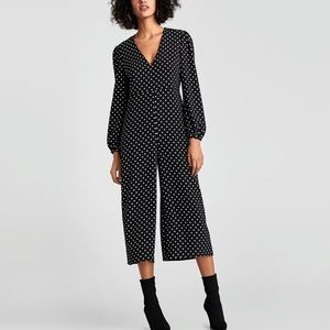 ZARA Cropped Polka Dots JUMPSUIT Black White